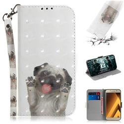 Pug Dog 3D Painted Leather Wallet Phone Case for Samsung Galaxy A3 2017 A320