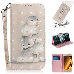 Three Squirrels 3D Painted Leather Wallet Phone Case for Samsung Galaxy A3 2017 A320