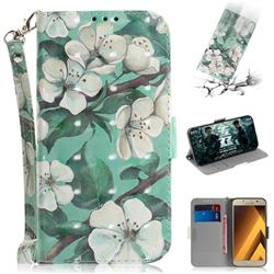 Watercolor Flower 3D Painted Leather Wallet Phone Case for Samsung Galaxy A3 2017 A320
