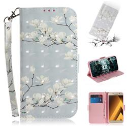 Magnolia Flower 3D Painted Leather Wallet Phone Case for Samsung Galaxy A3 2017 A320