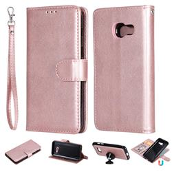 Retro Greek Detachable Magnetic PU Leather Wallet Phone Case for Samsung Galaxy A3 2017 A320 - Rose Gold
