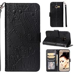 Embossing Fireworks Elephant Leather Wallet Case for Samsung Galaxy A3 2017 A320 - Black