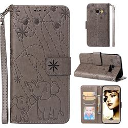 Embossing Fireworks Elephant Leather Wallet Case for Samsung Galaxy A3 2017 A320 - Gray