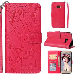 Embossing Fireworks Elephant Leather Wallet Case for Samsung Galaxy A3 2017 A320 - Red