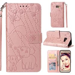 Embossing Fireworks Elephant Leather Wallet Case for Samsung Galaxy A3 2017 A320 - Rose Gold