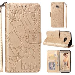 Embossing Fireworks Elephant Leather Wallet Case for Samsung Galaxy A3 2017 A320 - Golden