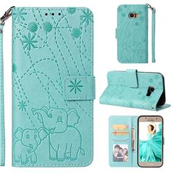 Embossing Fireworks Elephant Leather Wallet Case for Samsung Galaxy A3 2017 A320 - Green