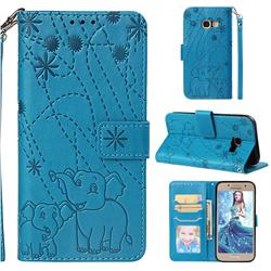 Embossing Fireworks Elephant Leather Wallet Case for Samsung Galaxy A3 2017 A320 - Blue