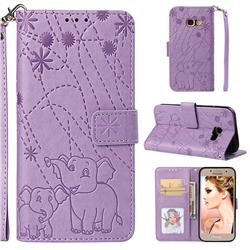 Embossing Fireworks Elephant Leather Wallet Case for Samsung Galaxy A3 2017 A320 - Purple