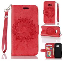 Embossing Retro Matte Mandala Flower Leather Wallet Case for Samsung Galaxy A3 2017 A320 - Red