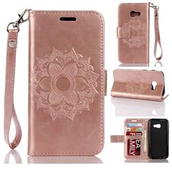 Embossing Retro Matte Mandala Flower Leather Wallet Case for Samsung Galaxy A3 2017 A320 - Rose Gold