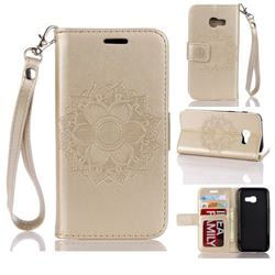 Embossing Retro Matte Mandala Flower Leather Wallet Case for Samsung Galaxy A3 2017 A320 - Golden