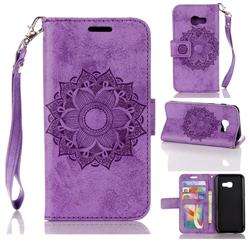 Embossing Retro Matte Mandala Flower Leather Wallet Case for Samsung Galaxy A3 2017 A320 - Purple