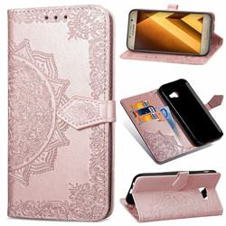 Embossing Imprint Mandala Flower Leather Wallet Case for Samsung Galaxy A3 2017 A320 - Rose Gold