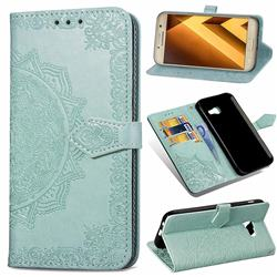 Embossing Imprint Mandala Flower Leather Wallet Case for Samsung Galaxy A3 2017 A320 - Green