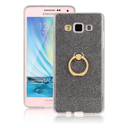 Luxury Soft TPU Glitter Back Ring Cover with 360 Rotate Finger Holder Buckle for Samsung Galaxy A5 2015 A500 - Black