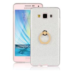 Luxury Soft TPU Glitter Back Ring Cover with 360 Rotate Finger Holder Buckle for Samsung Galaxy A5 2015 A500 - White