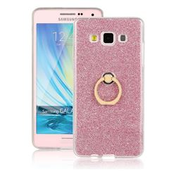 Luxury Soft TPU Glitter Back Ring Cover with 360 Rotate Finger Holder Buckle for Samsung Galaxy A5 2015 A500 - Pink