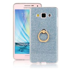 Luxury Soft TPU Glitter Back Ring Cover with 360 Rotate Finger Holder Buckle for Samsung Galaxy A5 2015 A500 - Blue