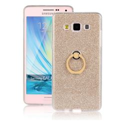 Luxury Soft TPU Glitter Back Ring Cover with 360 Rotate Finger Holder Buckle for Samsung Galaxy A5 2015 A500 - Golden