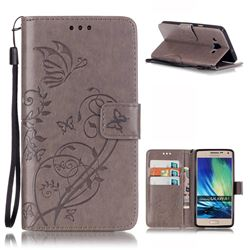 Embossing Butterfly Flower Leather Wallet Case for Samsung Galaxy A5 A500 - Grey