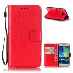 Embossing Butterfly Flower Leather Wallet Case for Samsung Galaxy A5 A500 - Red