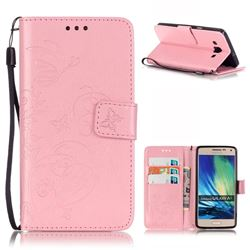 Embossing Butterfly Flower Leather Wallet Case for Samsung Galaxy A5 A500 - Pink