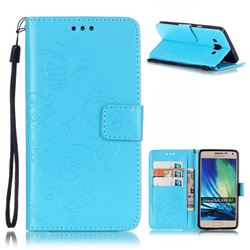 Embossing Butterfly Flower Leather Wallet Case for Samsung Galaxy A5 A500 - Blue