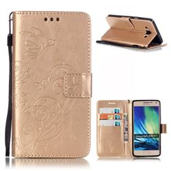 Embossing Butterfly Flower Leather Wallet Case for Samsung Galaxy A5 A500 - Champagne