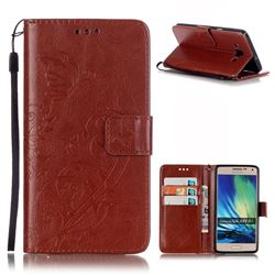 Embossing Butterfly Flower Leather Wallet Case for Samsung Galaxy A5 A500 - Brown