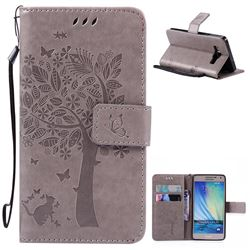 Embossing Butterfly Tree Leather Wallet Case for Samsung Galaxy A5 A500 - Grey