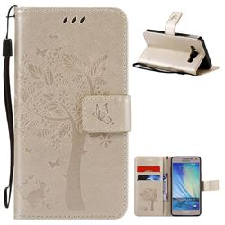 Embossing Butterfly Tree Leather Wallet Case for Samsung Galaxy A5 A500 - Champagne