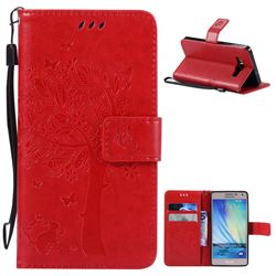 Embossing Butterfly Tree Leather Wallet Case for Samsung Galaxy A5 A500 - Red