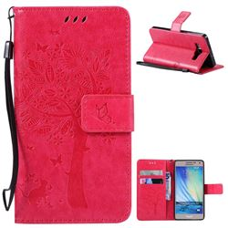 Embossing Butterfly Tree Leather Wallet Case for Samsung Galaxy A5 A500 - Rose