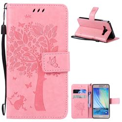 Embossing Butterfly Tree Leather Wallet Case for Samsung Galaxy A5 A500 - Pink
