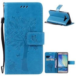 Embossing Butterfly Tree Leather Wallet Case for Samsung Galaxy A5 A500 - Blue