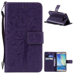 Embossing Butterfly Tree Leather Wallet Case for Samsung Galaxy A5 A500 - Purple
