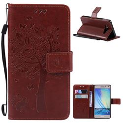 Embossing Butterfly Tree Leather Wallet Case for Samsung Galaxy A5 A500 - Brown