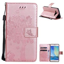 Embossing Butterfly Tree Leather Wallet Case for Samsung Galaxy A5 2015 A500 - Rose Pink