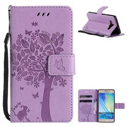 Embossing Butterfly Tree Leather Wallet Case for Samsung Galaxy A5 2015 A500 - Violet