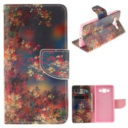 Colored Flowers PU Leather Wallet Case for Samsung Galaxy A5 2015 A500