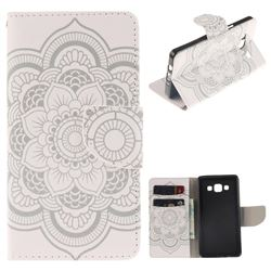 White Flowers PU Leather Wallet Case for Samsung Galaxy A5 2015 A500