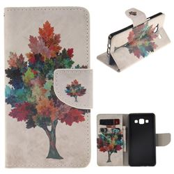 Colored Tree PU Leather Wallet Case for Samsung Galaxy A5 2015 A500