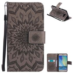 Embossing Sunflower Leather Wallet Case for Samsung Galaxy A5 2015 A500 - Gray