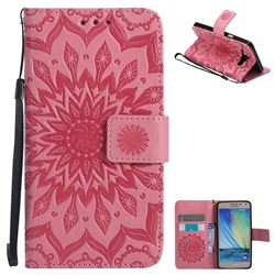 Embossing Sunflower Leather Wallet Case for Samsung Galaxy A5 2015 A500 - Pink
