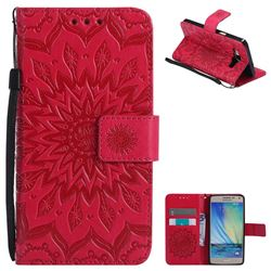 Embossing Sunflower Leather Wallet Case for Samsung Galaxy A5 2015 A500 - Red