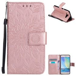 Embossing Sunflower Leather Wallet Case for Samsung Galaxy A5 2015 A500 - Rose Gold
