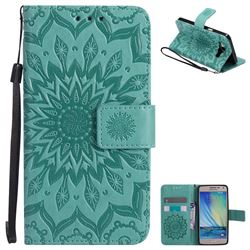 Embossing Sunflower Leather Wallet Case for Samsung Galaxy A5 2015 A500 - Green