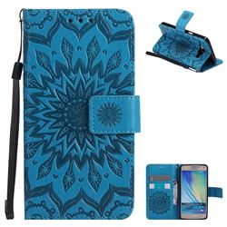 Embossing Sunflower Leather Wallet Case for Samsung Galaxy A5 2015 A500 - Blue