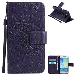 Embossing Sunflower Leather Wallet Case for Samsung Galaxy A5 2015 A500 - Purple